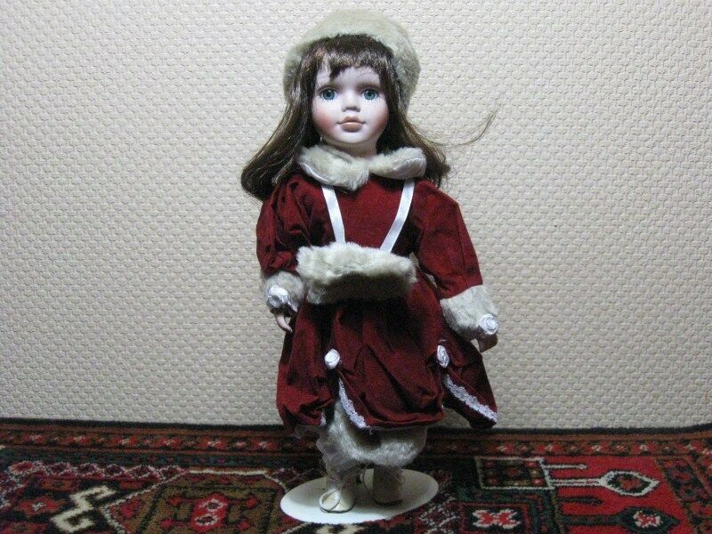 Germany Brunette Porcelain Doll Winter Clothing & Hand Warmer NIB