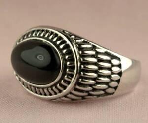 Celtique Blé Ovale Onyx Noir Bague Hommes Platine Revêtement Taille 9 ixEnFliw-09152938-246778440