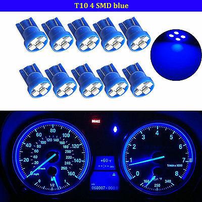 10X T10 Wedge Blue 4-SMD LED Dashboard Light W5W 194 2825 Gauge Cluster Bulb
