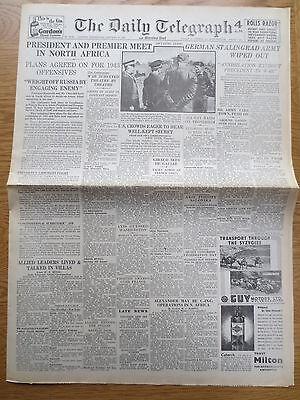 WW2 Newspaper January 27 1943 Casablanca Montgomery Daily Telegraph Wartime WAR