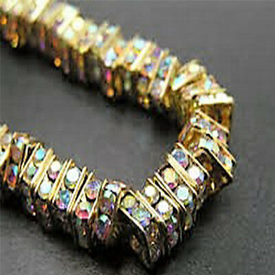 10 Quality Gold Plated Clear AB Crystal Beads, Square Rhinestone Spacers,