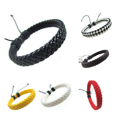 New Fashion Punk Braided Cord Rope Leather Cuff Bracelet Bangle Wristband Unisex