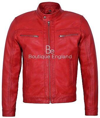 /'RAGE/' Men/'s RED WAX Leather Jacket Short Bomber Biker Motorcycle Style 7862