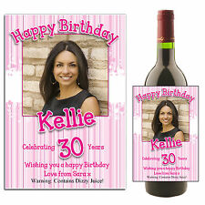 Personalised Wine Champagne Bottle PHOTO Label N33 ~ Happy Birthday Gift Idea