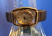 Women's Focus Gold Tone Bracelet Watch With Flip Case White Stone Accent