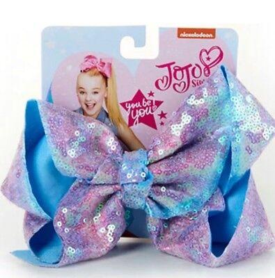 JoJo Siwa Signature Purple Lavender Polka Dot Shimmer Sequin Hair Bow NWT Summer