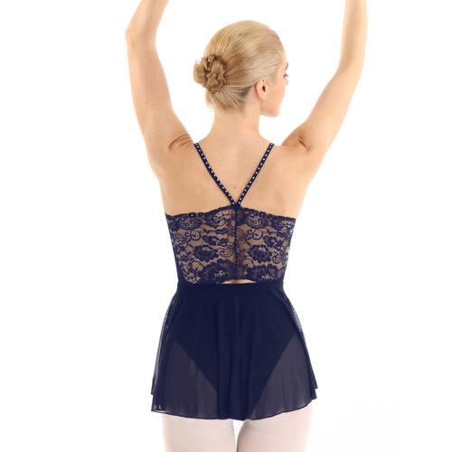 Damen Ballettkleid Strass Ballettanzug mit Ballettröckchen Rückenfrei Tanzkleid
