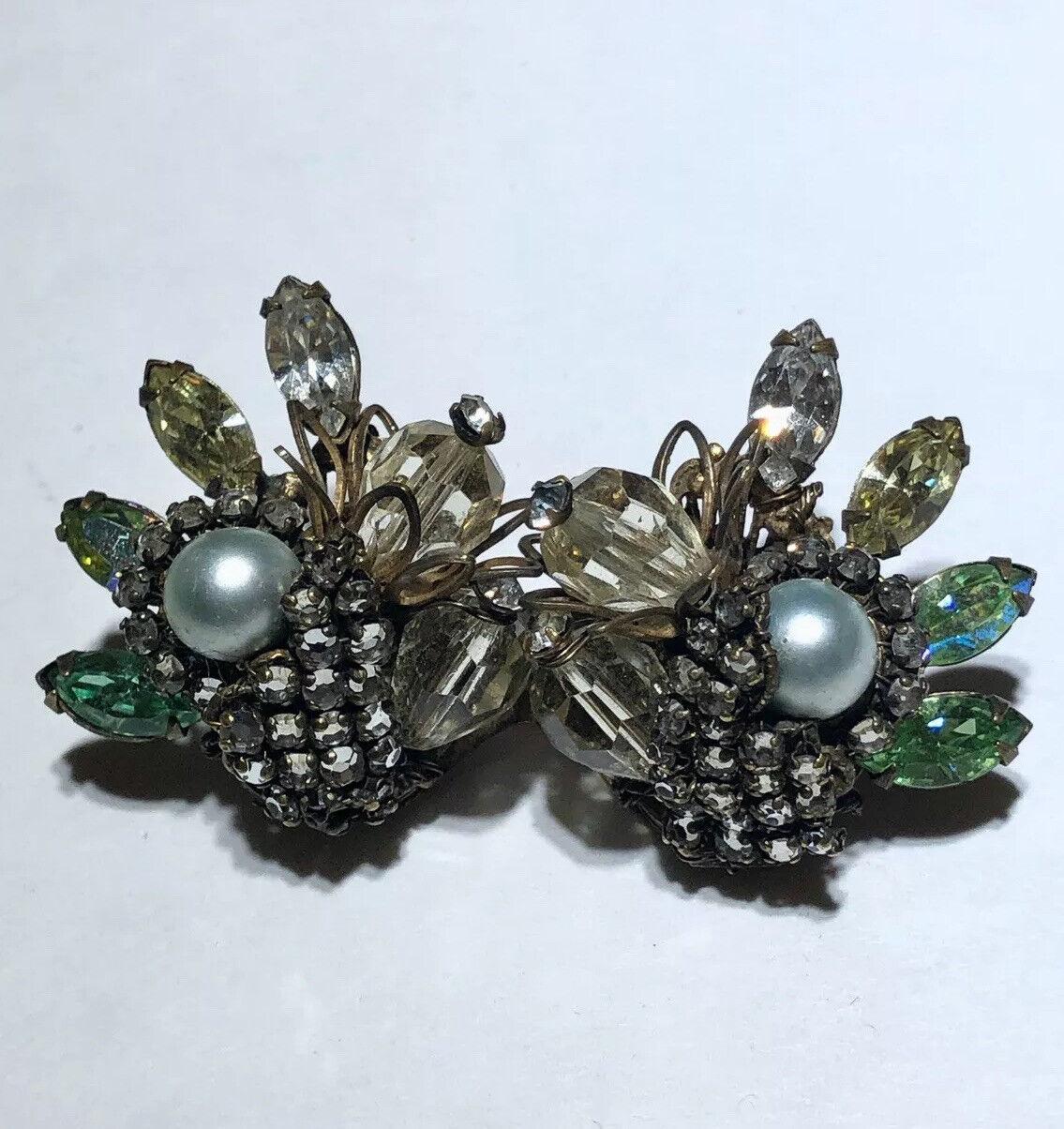 Vintage glass rhinestone crystal pearl filigree h… - image 5