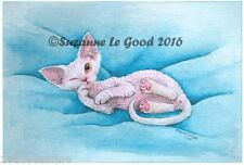 LTD EDITION WHITE DEVON REX CAT PAINTING PRINT FROM ORIGINAL SUZANNE LE GOOD