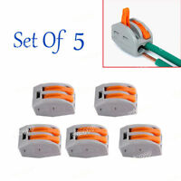 5 2way 9-10mm Spring Lever Terminal Block Electric Cable Connector Wire Caps