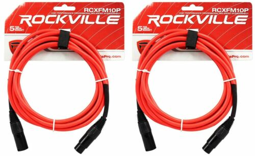 2 Rockville RCXFM10P-R Red 10/' Female to Male REAN XLR Mic Cable 100/% Copper