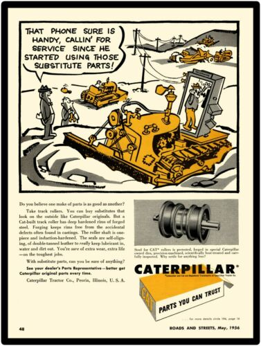 Cat Genuine Parts Dealership Style Sign 1956 Caterpillar Tractor New Metal Sign