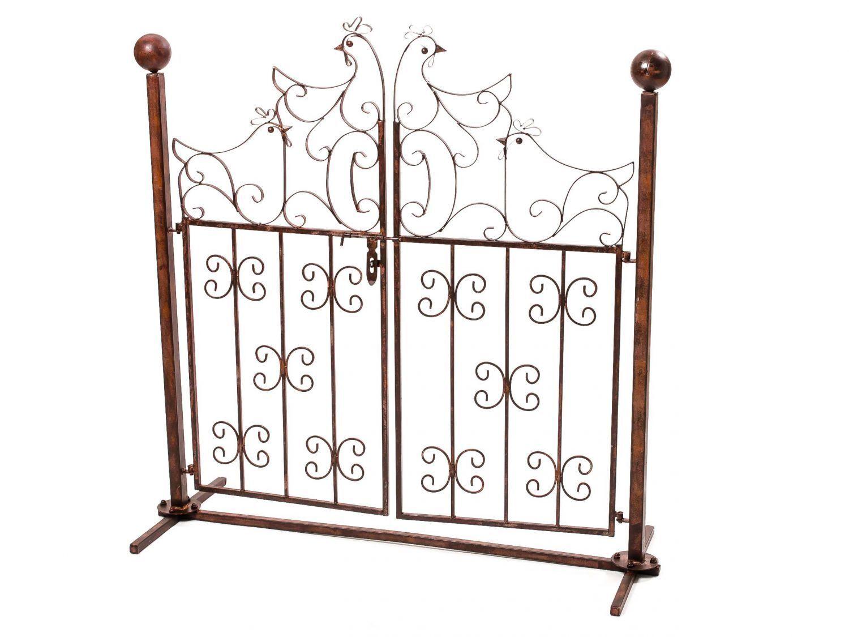 Decorazione gartentür cancelletto pedonale polli ferro stile antico giardino cancello Gates IRON