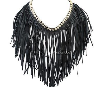Fashion New Women Fringe Necklace PU Tassel Chain Evening Party Dress Jewelry