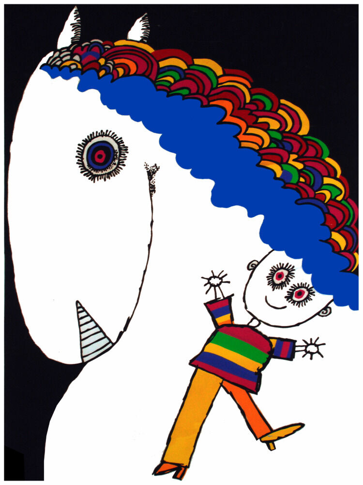 5261.Boy and happy horse with multi-colGoldt hair.POSTER cor Home Office art