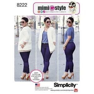 Simplicity-Sewing-Muster-Misses-Netz-Jacke-amp-Jeans-Stretch-Groesse-6-22-8222
