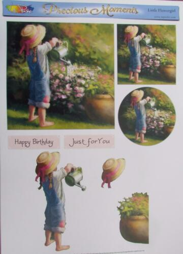 2 Toppers Card Making 3D A4 Paper Tole Flower Girl Watering Garden 1 Picture