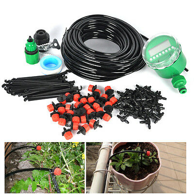 25m DIY Micro Drip Irrigation System Auto Timer Self Plant Watering Garden Hose