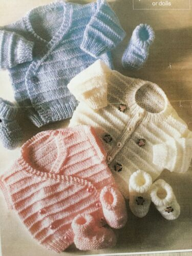 Knitting Pattern For Baby Cardigans And Waistcoat//Bootees 10-20in DK /& 4ply B10