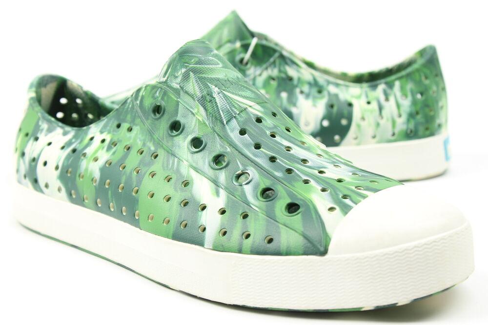Native Hommes Jefferson Marbre Chaussures Botanique Vert Coque Blanc 9 Neuf