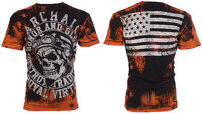 Archaic AFFLICTION Mens T-Shirt RACER American Customs USA FLAG Biker UFC $40 a
