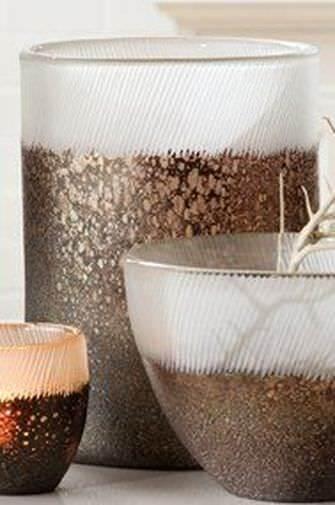 Gilde Glas Vase Lanzarote braun Gold metallic Glas 28x20,5cm