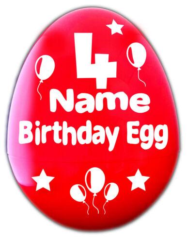 """Bambini compleanno a sorpresa uovo gigante 14/"""" personalizzati nome e numero Fillable Plastica Uovo"""