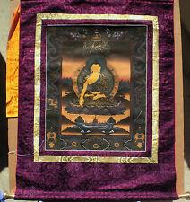 Elegant Tibetan Thangka Painting 24 Karat Gold Shakyamuni Buddha Auth WC Brocade