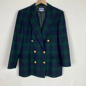 Pendleton-Womens-Size-12-Green-Blue-Plaid-Blazer-with-Gold-Buttons-Shoulder-Pads