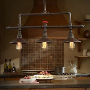 aged iron linear chandelier rustic pendant light kitchen