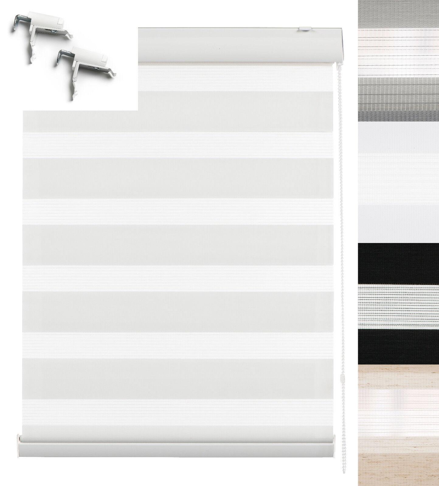 Klemmfix Doppelrollo Duo Rollo mit Blende Fenster Tür Jalousie Seitenzugrollo | Elegantes Aussehen
