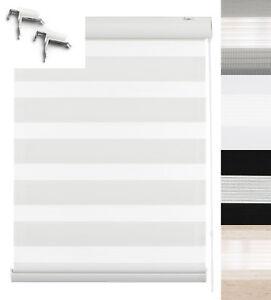 Klemmfix-Doppelrollo-Duo-Rollo-mit-Blende-Fenster-Tuer-Jalousie-Seitenzugrollo