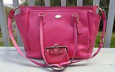 COACH Bright Pink Crossgrain Leather Diaper Bag Multifunction Bag  F35702
