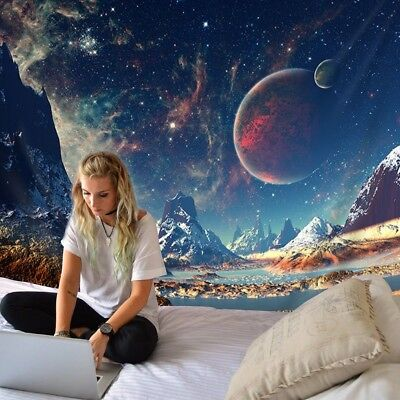 Psychedelic Outer Space Planet Tapestry Wall Hanging Tapestry Home Decor Throw