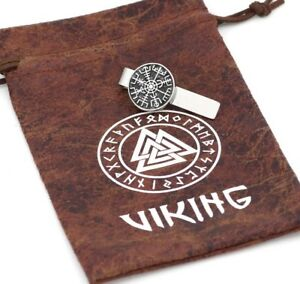 Alfiler-Corbata-Aguja-Vegvisir-Acero-Inox-Con-Vikings-Bolsa-Piel-Odin-Thor-KN1