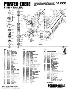 Porter Cable Finish Nailer Used Parts Da250b Ebay