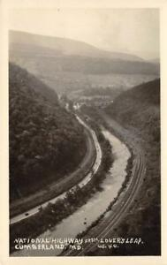 RPPC-National-Highway-From-Lover-039-s-Leap-Cumberland-MD-US-40-Postcard-ca-1930s