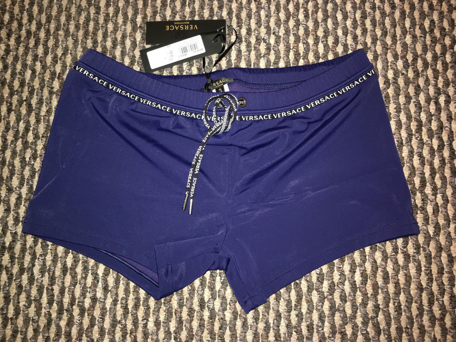 VERSACE Men's Iconic Navy bluee Swim Trunks Shorts Size M  IT 4