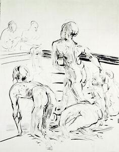 DDR-Kunst-Am-Becken-1987-Aquatinta-Reinhard-MINKEWITZ-1957-handsigniert