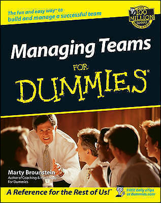 1 of 1 - Managing Teams For Dummies by Marty Brounstein (Paperback, 2002)