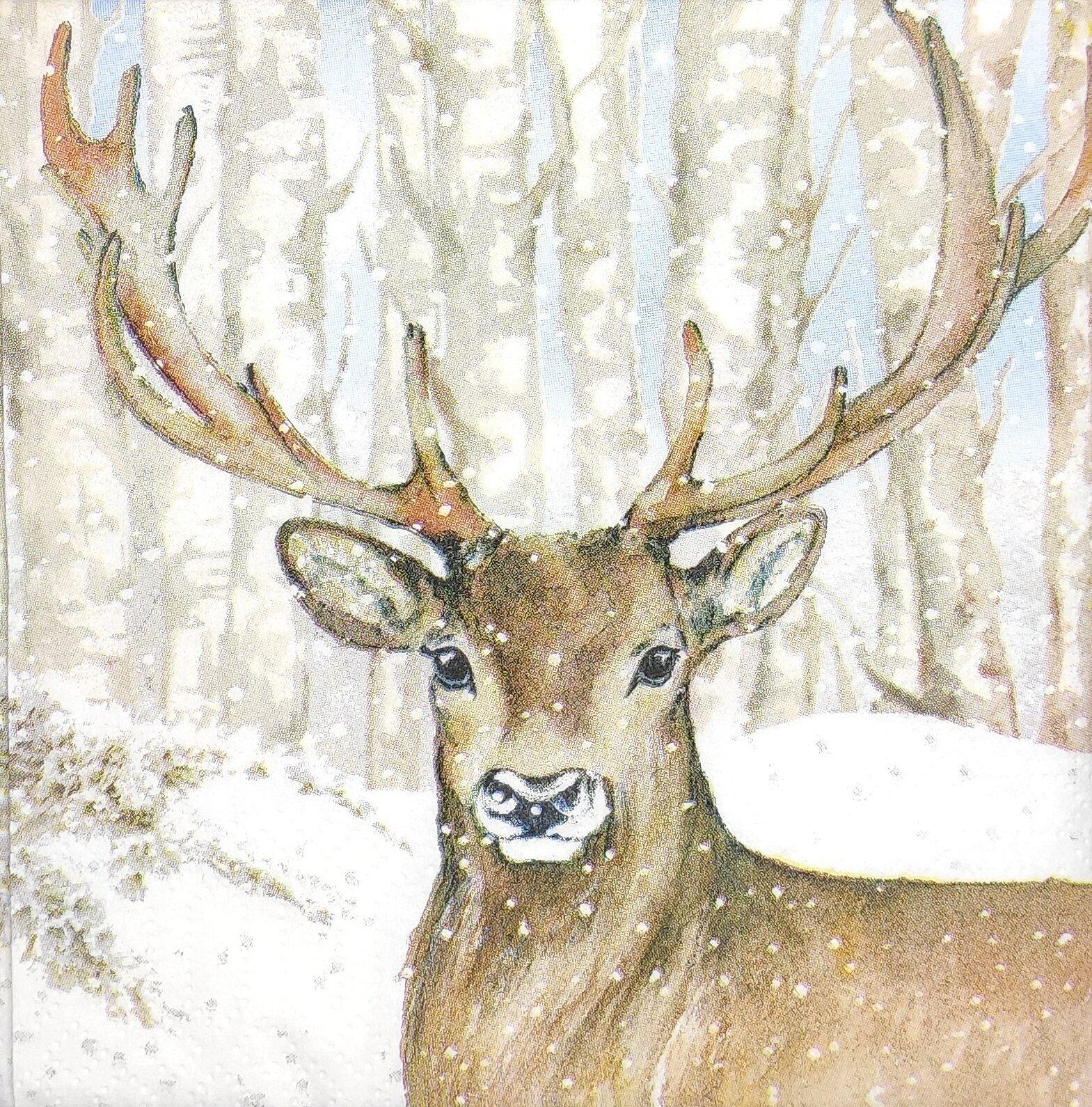 4x Paper Napkins for Decoupage Decopatch Craft Regalia Deer