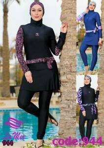 Premium-Burkini-3-Piece-Girls-Womens-Muslim-bodysuit-Modest-Swimwear-Costumes