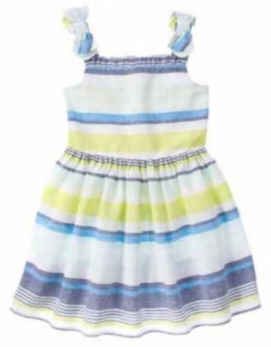 NWT Gymboree Girls Blue Safari Striped Bow Strap Dress Size 4 5 6 7 /& 8