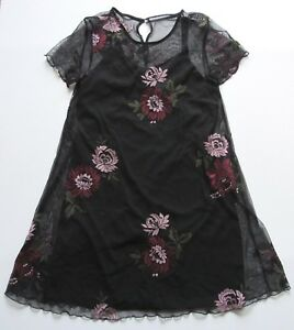 aff262fbacf Image is loading Francesca-039-s-Miami-Black-Floral-Embroidered-Dress-