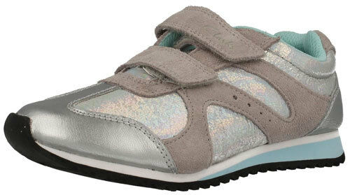 Clarks SUPER GLEAM SILVER Girls Leather Trainers 7-12 FH Fit BNIB