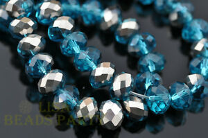 50pcs-4x6mm-Faceted-Rondelle-Crystal-Glass-Bead-Half-Silver-Half-Lake-Blue