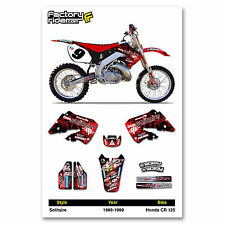 1998-1999 HONDA CR 125 Solitaire Motocross Graphics Dirt Bike Decal Sticker Kit