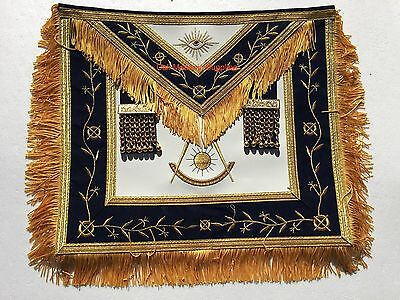 Masonic Past Master Apron  Synthetic Heavy Leather Golden Tassels Silky Fringe