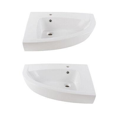 aquaSu Waschtisch New Day weiß Eck-Waschtisch Waschbecken Waschschale NEU