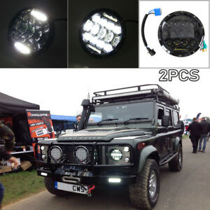 2x-150W-Land-Rover-amp-Defender-LED-Headlights-RHD-7-034-90-110-Hi-Lo-Beam-DRL